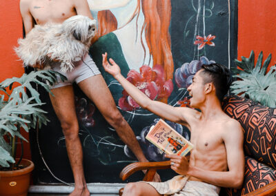 """Aditi Joshi: """"How many times have we seen queer couples fighting, getting annoyed, betraying, and being vulnerable in movies and stories?   As it's mostly the cishet people who have represented the stories of queer lovers, we only see a rosy picture of them.   Two people, queer, fall in love but society comes in between and either one dies, or they end up together. This is the template that we see, read and hear in the love stories of queer people.  But this is so untrue. We are equally vulnerable, make mistakes when it comes to love, are selfish, and sometimes stupid.   The title of my artwork is, LOVE, LUST, AND LIES. Through this series of photos, I wanted to capture the intricacies and depth of queer love stories. We are equally prone to mistakes, deeply in love with each other, and are complex human beings."""""""
