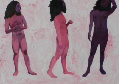 """Zuraisa Putri: """"The duality within the societal construct that divides everything into boxes of blacks and whites, with no space for things that are grays. Colours, representing gender identity, have been shaped to cause issues that bind everyone. 'Pink to women' and 'blue to men' eventually dictate people's fragility towards the understanding of gender. MOTION IN EGO is a dramatic portrayal of three human figures that are blended in purple shades, a combination of two colours: pink and blue. On the left and middle figures, I  illustrate the psychological clash with one of the so-called 'gendered' colours appearing more dominant than the other one. On the right figure, I imagine a perfect blending between blue and pink, which has made the representation one kind of anti-binary figure. I also depict such blending with the motion of the figure that poses towards blending and has gone through a prolonged thinking process as a complete being."""""""